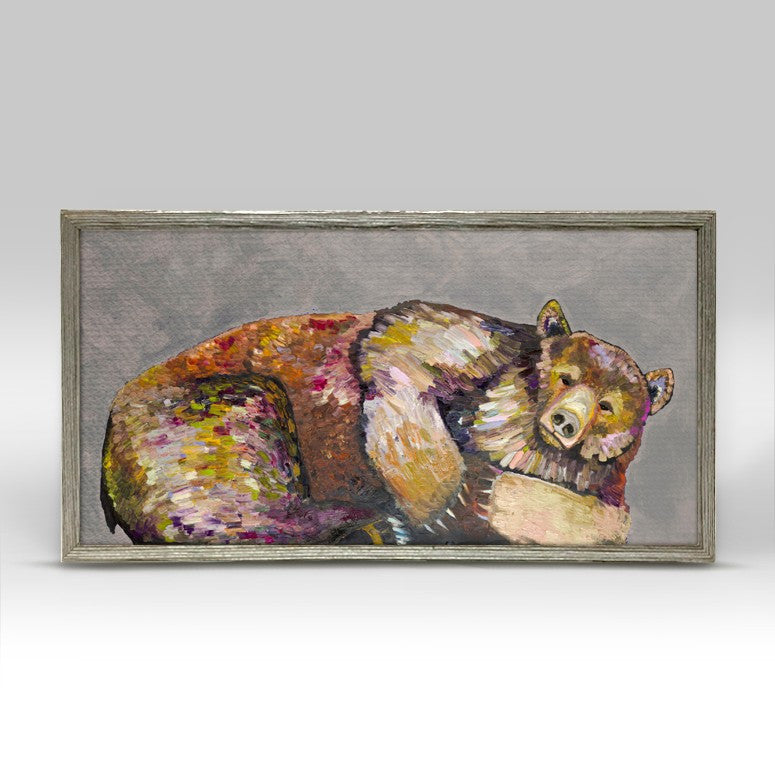"Grizzly Bear Dreams on Grey Mini Print 10"" x 5"" - Silver Frame"