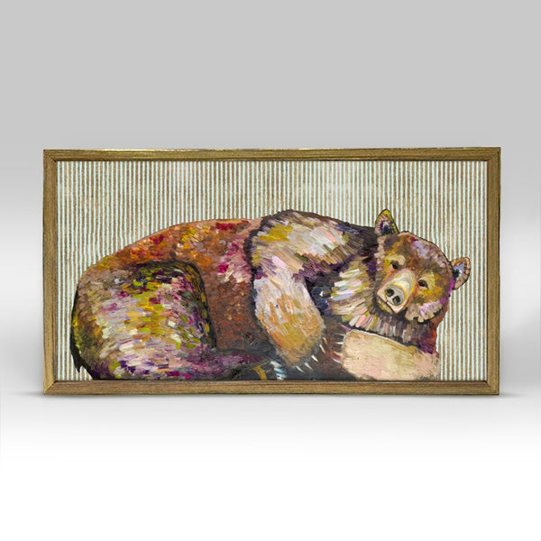 "Grizzly Bear Dreams with Gold Stripes Mini Print 10"" x 5"" - Gold Frame"