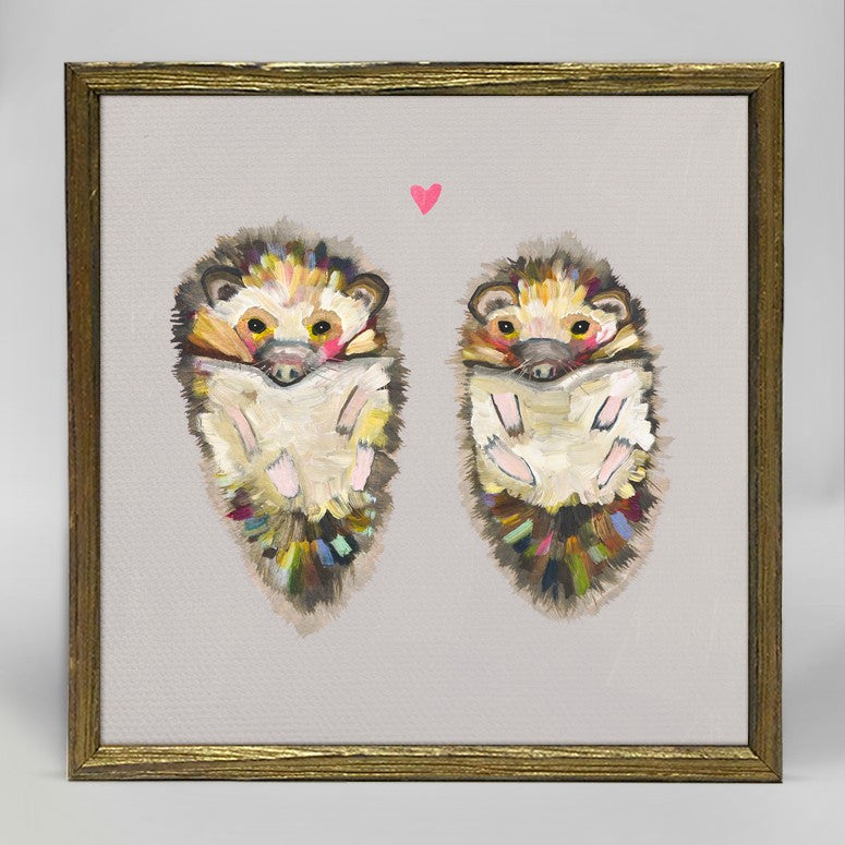 "Hedgehog Love on Soft Gray Mini Print 6"" x 6"" - Gold Frame"