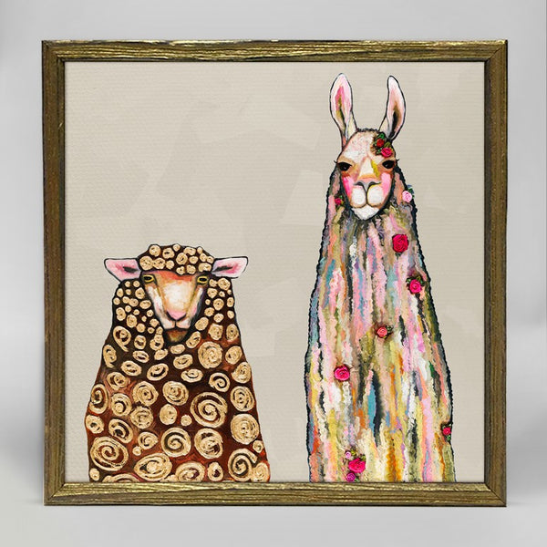 "Llama Loves Sheep Mini Print 6"" x 6"" - Gold Frame"