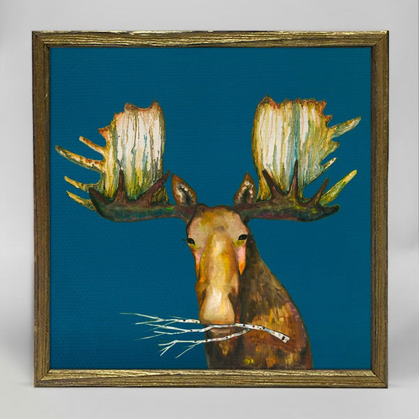 "Moose With Branch Mini Print 6"" x 6"" - Gold Frame"