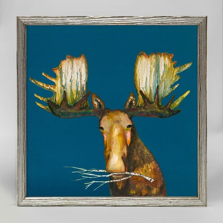 "Moose With Branch Mini Print 6"" x 6"" - Silver Frame"