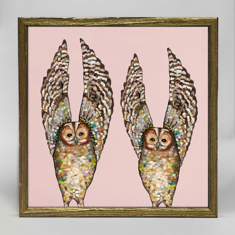 "Owl Duo on Coral Mini Print 6"" x 6"" - Gold Frame"