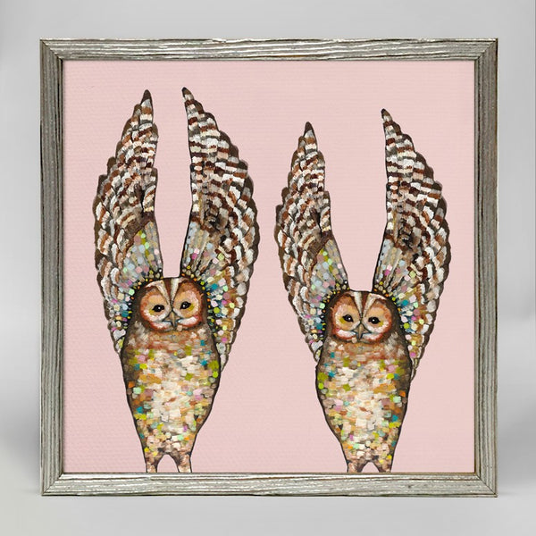 "Owl Duo on Coral Mini Print 6"" x 6"" - Silver Frame"