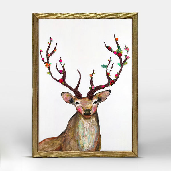 "Rosy Buck Mini Print 5"" x 10"" - Gold Frame"