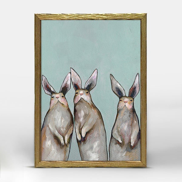 "Three Standing Rabbits on Blue Mini Print 5"" x 10"" - Gold Frame"