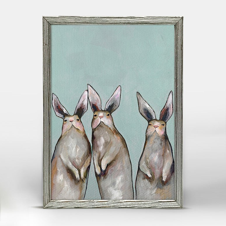 "Three Standing Rabbits on Blue Mini Print 5"" x 10"" - Silver Frame"