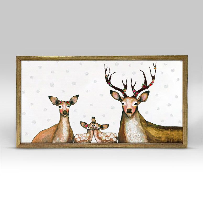 "Flower Deer Family Embellished Mini Print 10"" x 5"" - Gold Frame"