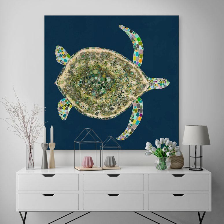 Jeweled Sea Turtle in Deep Blue - Giclée Print