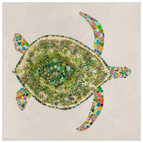 Jeweled Sea Turtle in Pearl - Giclée Print
