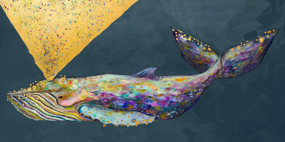 Jeweled Whale Spray Metallic Embellished - Giclée Print