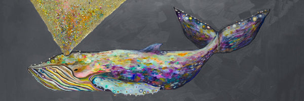 Jeweled Whale Spray in Blue Fog - Giclée Print