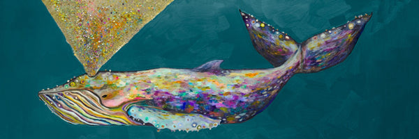 Jeweled Whale Spray in Teal - Giclée Print