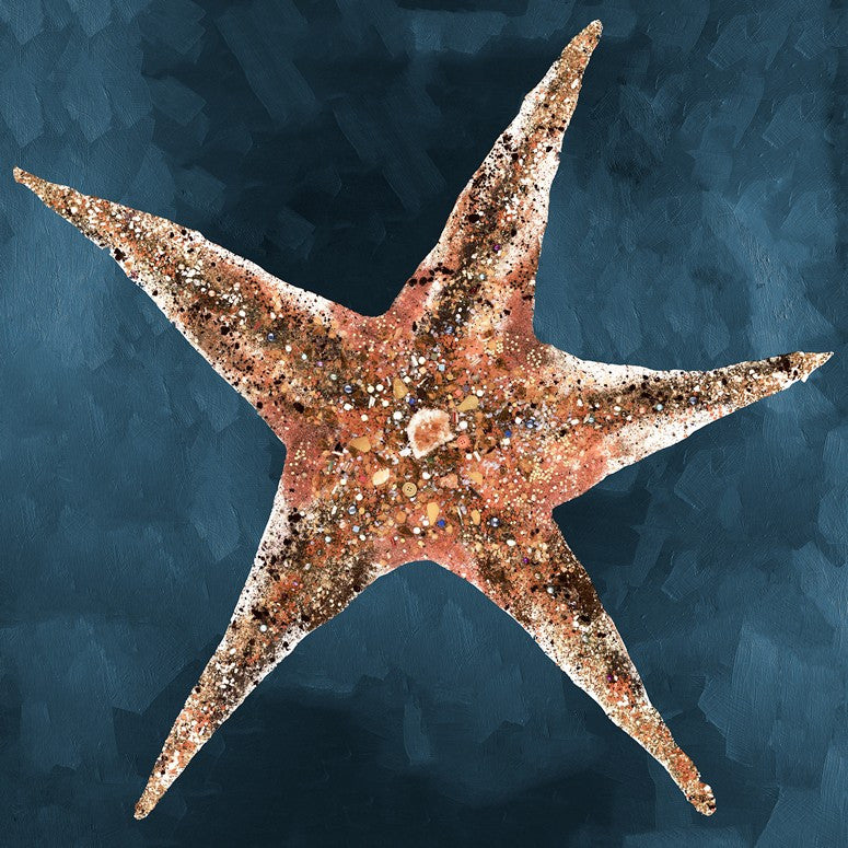Jeweled Starfish in Deep Blue - Giclée Print