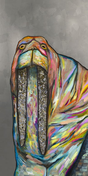 Jeweled Walrus on Silver - Giclée Print