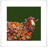 Lamb on Olive Green - Giclée Print