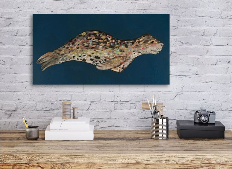 Leopard Seal on Indigo - Giclée Print
