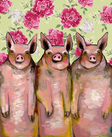 Little Piggies Floral - Giclée Print