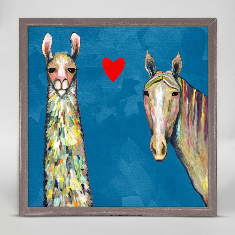 "Llama Loves Horse in Blue Mini Print 6"" x 6"""