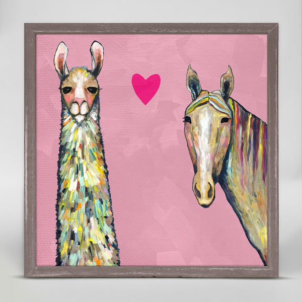 "Llama Loves Horse in Pink Mini Print 6"" x 6"""