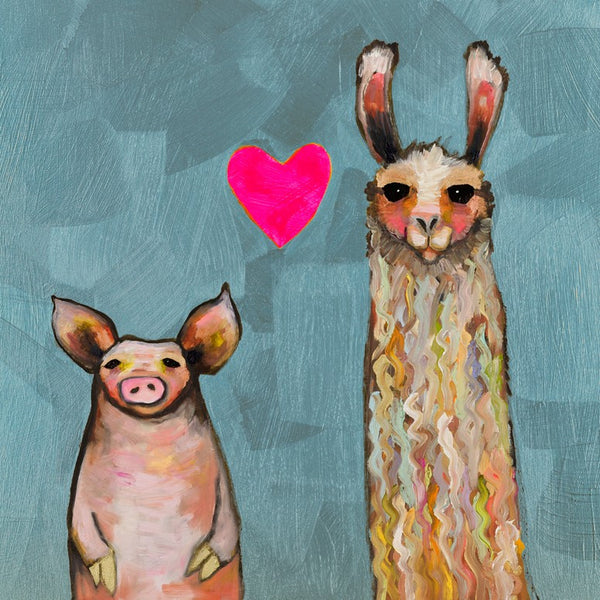 Llama Loves Pig in Blue - Signed Large Giclée Canvas Print For Austin Tx Delivery Only