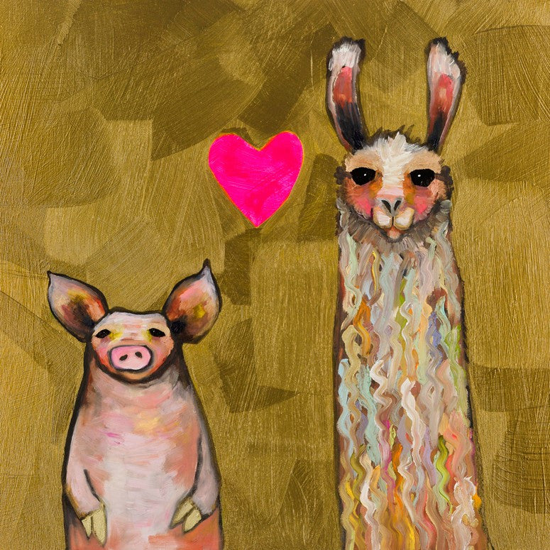 Llama Loves Pig in Gold - Giclée Print