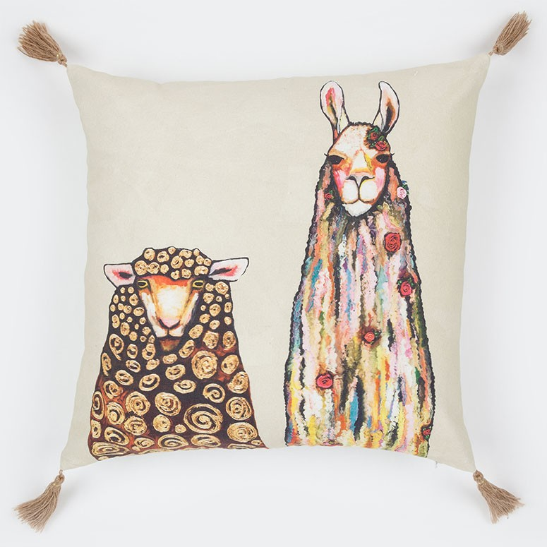 "Llama Loves Sheep - Pillow 20"" x 20"""