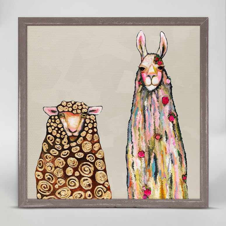 "Llama Loves Sheep Mini Print 6"" x 6"""