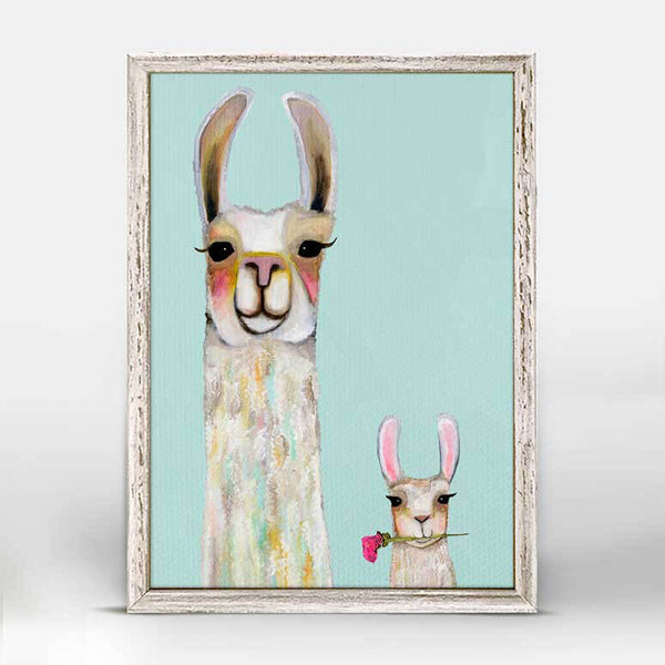 "Llama and Baby Soft Aqua Signed Mini Print 5"" x 7"""