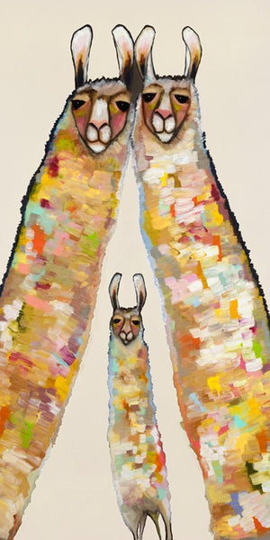 Llama Family on Cream - Giclée Print
