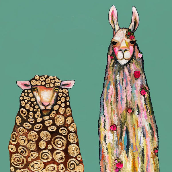 Llama Loves Sheep on Teal - Giclée Print