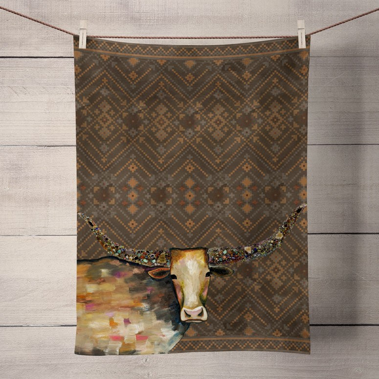 Jeweled Longhorn Tea Towel