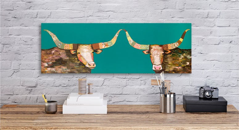 Longhorns on Teal - Giclée Print