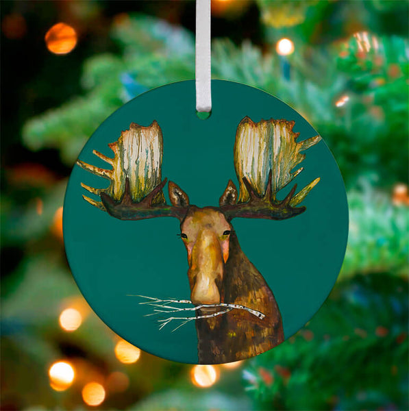 Merry Moose Ceramic Ornament