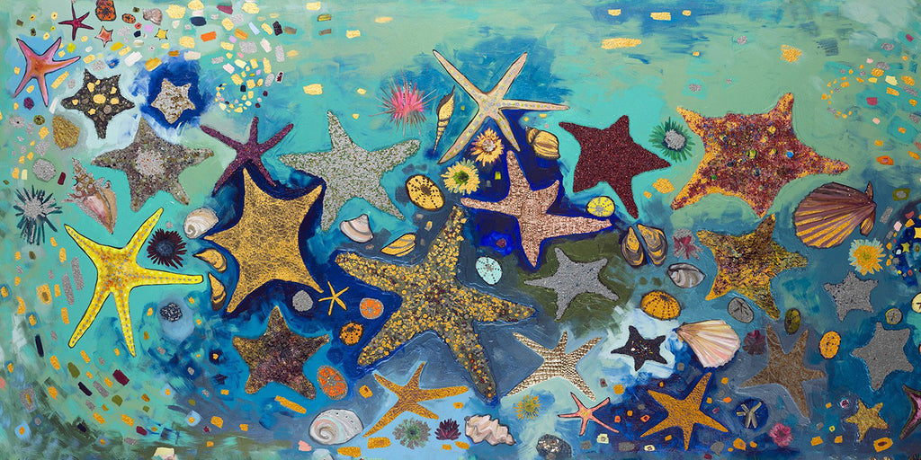 Starfish Metallic Embellished - Giclée Print