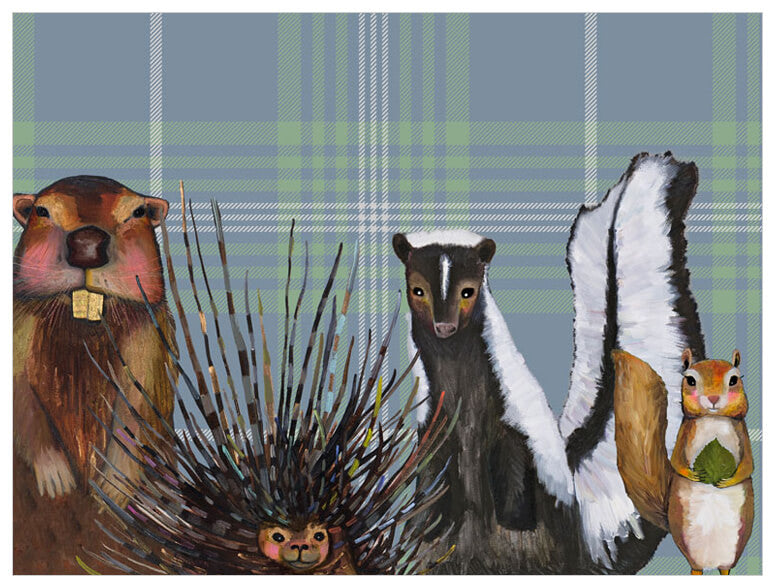 Miss Skunk and Crew on Plaid - Giclée Print