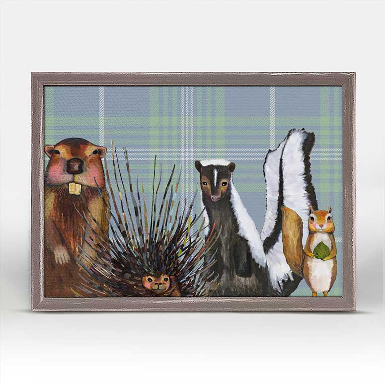 "Miss Skunk and Crew on Plaid Mini Print 7"" x 5"""