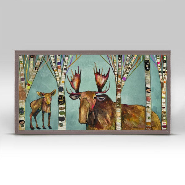 "Moose Birch Tree Forest Mini Print 10"" x 5"""