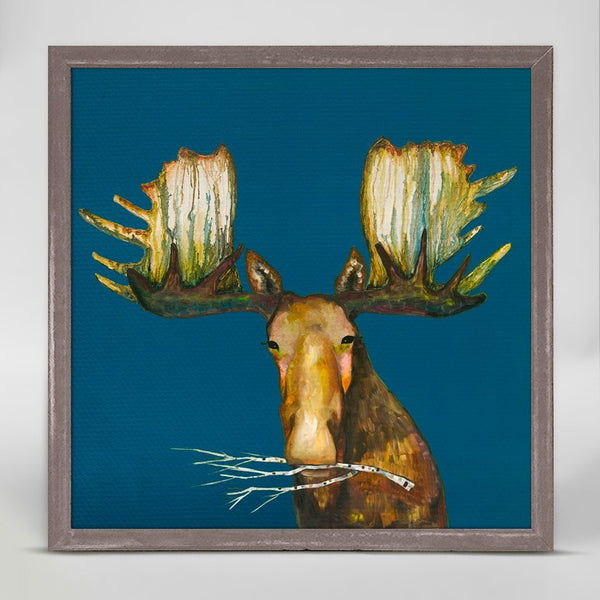 "Moose With Branch Mini Print 6"" x 6"""
