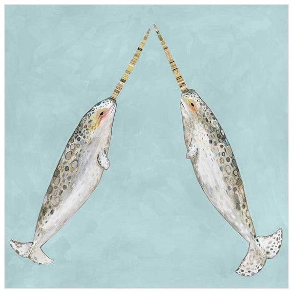 Narwhal Duo on Aqua- Giclée Print