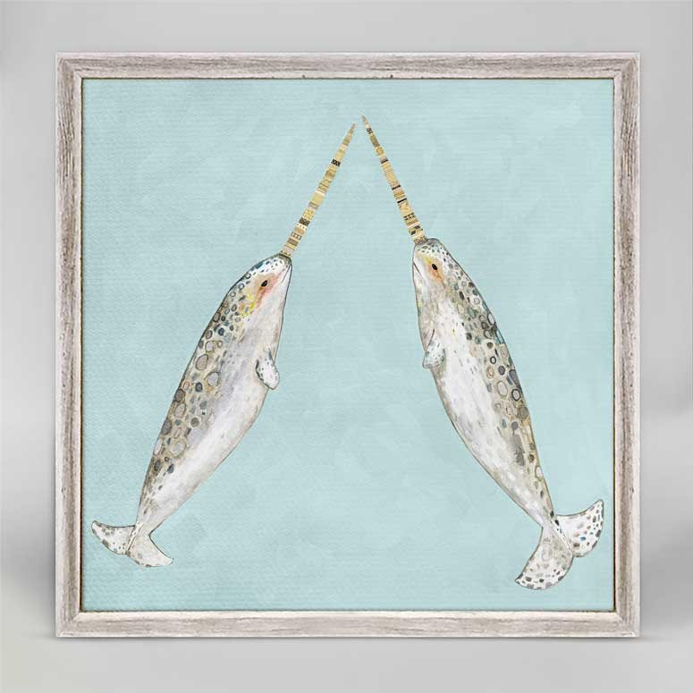 "Narwhal Duo on Aqua Mini Print 6"" x 6"""
