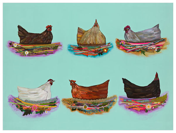 Nesting Hens - Signed Large Giclée Canvas Print For Austin Tx Delivery Only