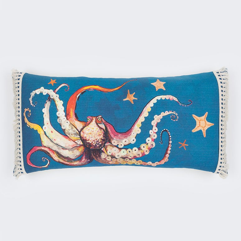 "Octopus and Starfish - Pillow 28"" x 14"""