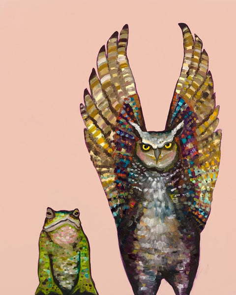 Owl and Toad in Coral - Giclée Print
