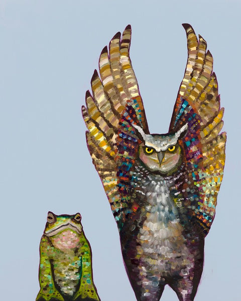 Owl and Toad in Light Blue - Giclée Print