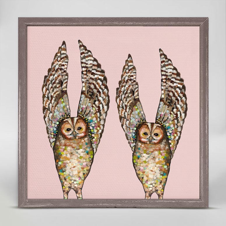 "Owl Duo on Pink Mini Print 6"" x 6"""