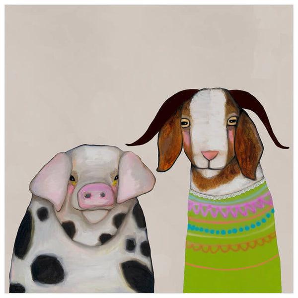 Pig and Goat Pals Neutral - Signed Giclée Print