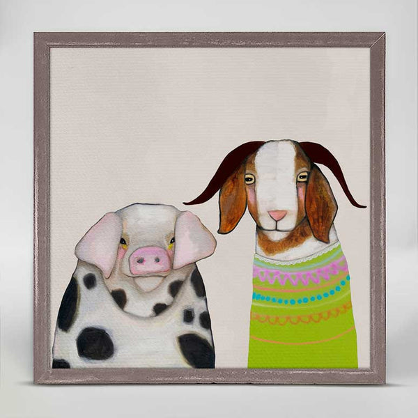 "Pig and Goat Pals Neutral Signed Mini Print 6"" x 6"""
