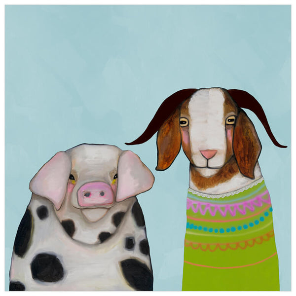 Pig and Goat Pals Sky Blue - Signed Large Giclée Canvas Print For Austin Tx Delivery Only