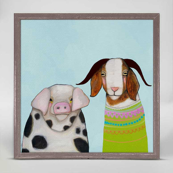 "Pig and Goat Pals Sky Blue Signed Mini Print 6"" x 6"""